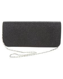 Klines Shimmer Glitter Clutch Bag Black