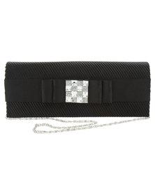 Klines Satin Pleated Bow Embellished Clutch Bag Black