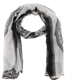 Klines Mono Lace Scarf Black and White