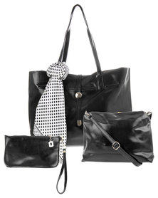 La Pearla Scarf Trim Tote Handbag Black