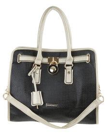 La Pearla Padlock Perforated Tote Handbag Black