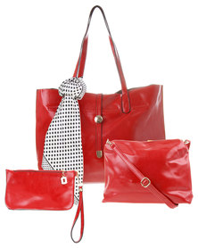 La Pearla Scarf Trim Tote Handbag Red
