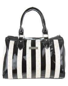 La Pearla Mono Stripe Barrel Bag Black/White