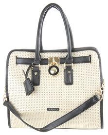 La Pearla Padlock Perforated Tote Handbag Beige