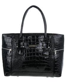 La Perla Crocodile Organiser Handbag Black