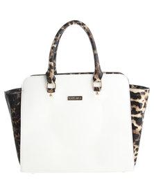 La Pearla Leopard Block Trapeze Bag White