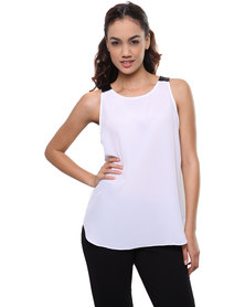 Label Femme Top With Pleather Inset White