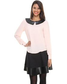 Label Femme Blouse With Pleather Collar Pink