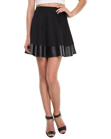 Label Femme Pleather Trim Mini Skirt Black