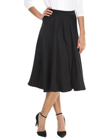 Label Femme Calf Length Flared Skirt Black