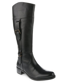 Laceys London Tameko Leather Riding Boots Black
