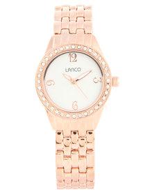 Lanco Round Dial Rose Gold-Tone Metal Strap Watch
