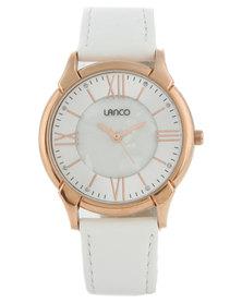 Lanco Round Dial White Strap Watch