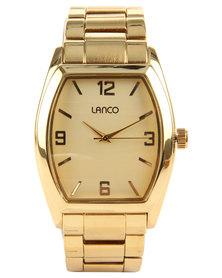 Lanco Rectangle Dial Metal Strap Watch Gold-tone