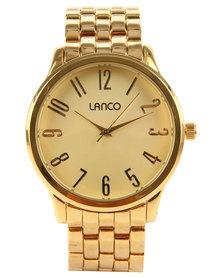 Lanco Round Dial Metal Strap Watch Gold-tone