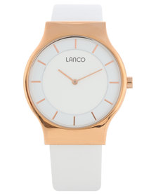 Lanco Round Dial Leather Strap Watch White