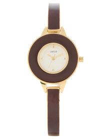 Lanco Round White Dial Metal Strap Watch Brown