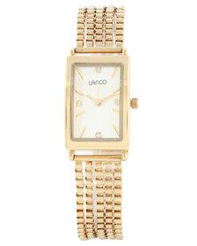 Lanco Rectangle White Dial Bracelet Strap Watch Gold-Tone
