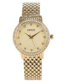 Lanco Metal Bracelet Watch With Diamantes Gold-Tone