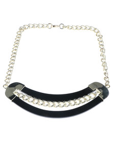 Lashongwe Designers Chunky Chain Perspex Trim Necklace Gold-Tone