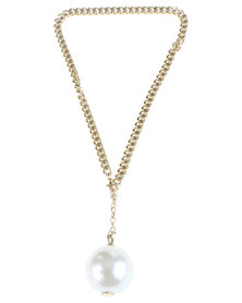 Lashongwe Designers Chain and Pearl Charm Necklace Gold-Tone
