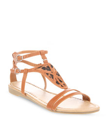 Launch Afro Gladiator Flats Tan