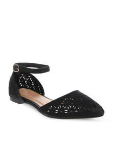Launch Pointed Floral Flats Black