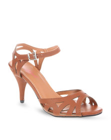 Launch Strappy Peep-Toe Heels Brown