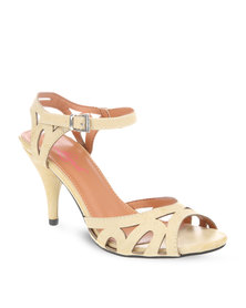 Launch Strappy Peep-Toe Heels Beige