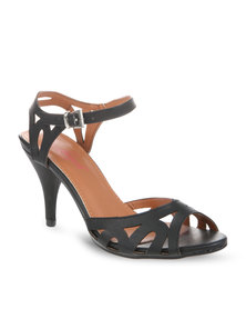 Launch Strappy Peep-Toe Heels Black
