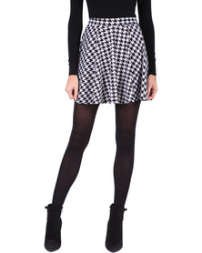 Leandra Designs Skater Skirt Black & White Print
