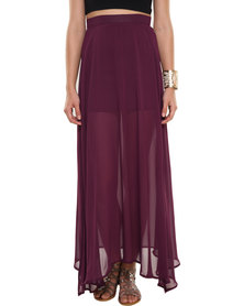 Leandra Designs Sheer Maxi Skirt Burgundy
