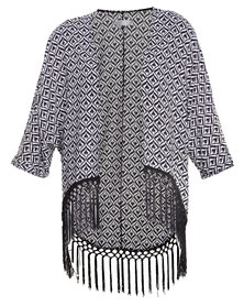 Leandra Designs Kimono with Fringing Black and White