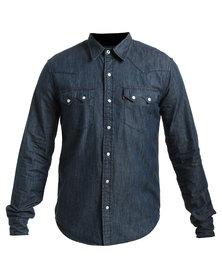 Levi's Classic Sawtooth Laundered Denim Shirt Navy