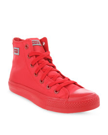 Levi's Dunk Pitch Hi Top Nylon Sneakers Red