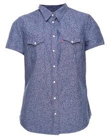 Levi's Tailored Pleated Short Sleeve Western Shirt Blue