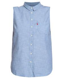 Levi's ® Sleeveless Button Down Shirt Blue