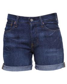 Levi's 501 Long Hemline Shorts Blue