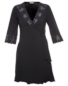 Lila Rose Lacy Dressing Gown Black