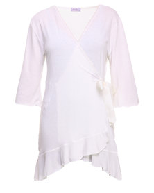 Lila Rose Frilly Dressing Gown White