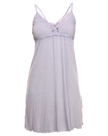 Lila Rose Cut Out Lace Chemise Grey