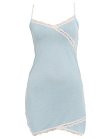Lila Rose Lacy Wrap Chemise Blue And Milk