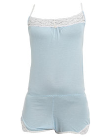 Lila Rose Lacy Onesie with Trim Blue