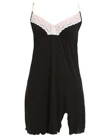 Lila Rose Short Lace Chemise Black