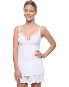Lila Rose Cut Out Lace Cami and Short Set White