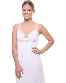 Lila Rose Cut Out Lace Chemise White
