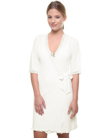 Lila Rose Cut Out Lace Dressing Gown White