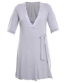 Lila Rose Cut Out Lace Dressing Gown Grey