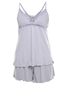 Lila Rose Cut Out Lace Cami and Short Set Grey