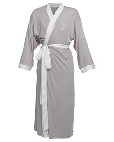 Lila Rose Knit Robe With Satin Trim Grey